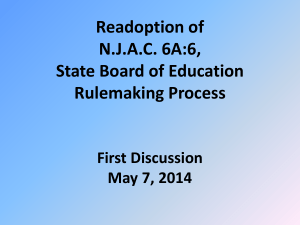 Readoption of N.J.A.C. 6A:6, State Board of Education Rulemaking
