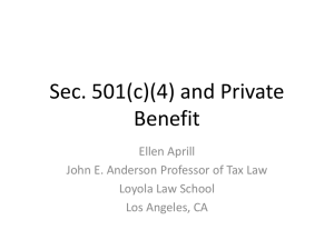 Section 501(c)(4) and Private Benefit
