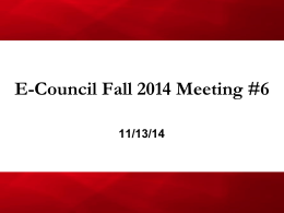 E-Council Fall 2014 Meeting #6