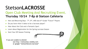 StetsonLACROSSE Thursday 10/24 7-8p @ Cafeteria