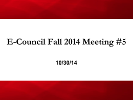 E-Council Fall 2014 Meeting #5