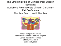 North Carolina Peer Support Specialist Annual Report