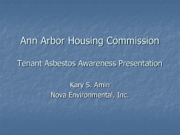Ann Arbor Housing Commission Tenant Asbestos Awareness