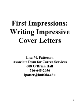 Cover Letters - SUNY Buffalo Law School