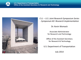 Research Implementation – Outcomes from the EU/US Symposium