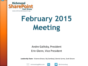 RSUG-February2015 - Richmond SharePoint User Group