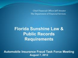 Sunshine Laws - Florida Department of Financial Services