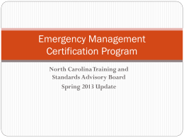 North Carolina Emergency Management Certification