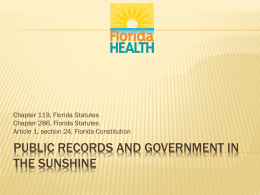 Public records and government in the sunshine