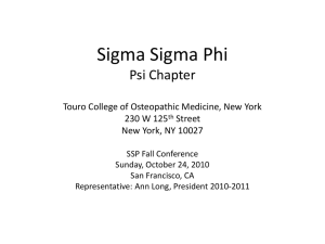 Sigma Sigma Phi Psi Chapter Touro College of Osteopathic