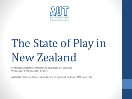 The State of Play in New Zealand