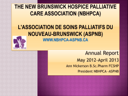 The New Brunswick Hospice Palliative Care Association (NBHPCA)