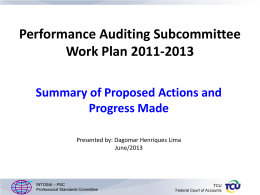 Presentation on the Performance Audit Subcommittee