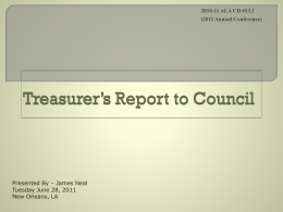 Treasurer`s Report to Council
