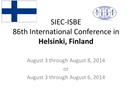 SIEC-ISBE 86th International Conference in Helsinki