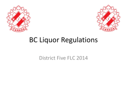 BC Liquor Regulations FLC 2014