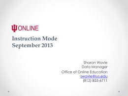 September 2013 Instruction Mode Coding PowerPoint