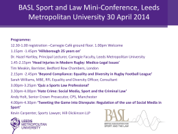 Sports and Law Mini-Conference Leeds Metropolitan University