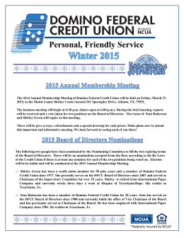 Winter 2015 2015 Annual Membership Meeting