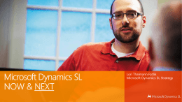 Microsoft Dynamics SL – Now & Next
