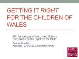 Getting it Right for the Children of Wales