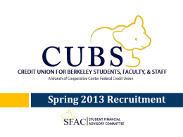 1 - Credit Union for Berkeley Students, Faculty, and Staff