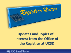 Registrar Matters Presentation (Bill Haid)