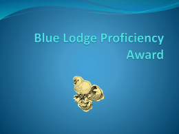 Blue Lodge Proficiency Award - Masonic Grand Lodge of Oregon