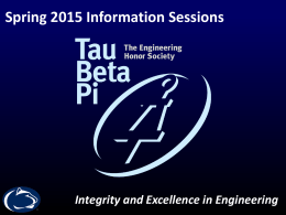 Tau Beta Pi General Body Meeting