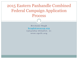 2015 Eastern Panhandle CFC Application Process
