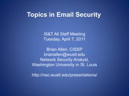 Topics in Email Security - Network Security Office