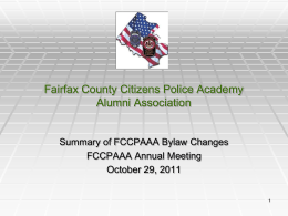 By-Laws Change Proposal - Fairfax County Citizens Police