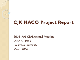 CJK NACO Project Report - The Council on East Asian Libraries