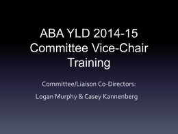 Committee Vice Chair Training