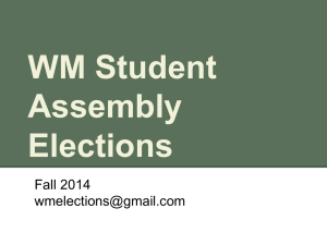 WM Student Assembly Elections Powerpoint