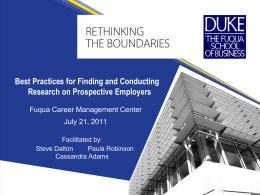 view slides - Duke University`s Fuqua School of Business