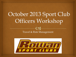 October 2013 Sport Club Officers Workshop
