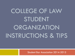 SBA Student Org Information & Tips