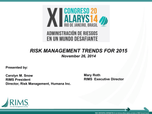 RISK MANAGEMENT TRENDS FOR 2015 November 26