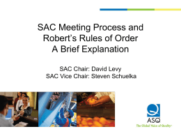 SAC Meeting Process And Robert`s Rules