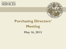 Purchasing Directors` Meeting - Department of Management Services