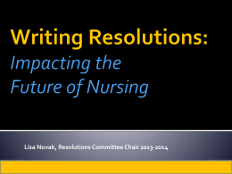 Writing Resolutions - National Student Nurses Association