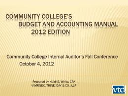 Budget and Accounting manual - Community College Internal Auditors