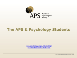 APS Student Subscribers - Australian Psychological Society