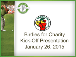 Birdies for Charity Kick-Off Presentation January