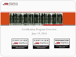 Certification Application Process - Association for Strategic Planning