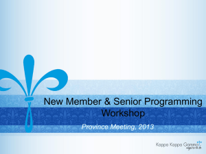 New Member and Senior Programming
