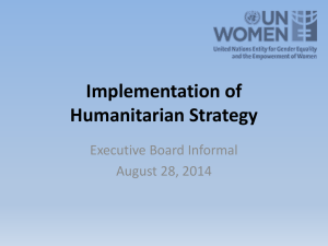 Implementation of Humanitarian Strategy
