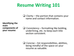 Resume Writing 101 - Baylor University