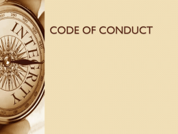 Code of Conduct by S.Kumar